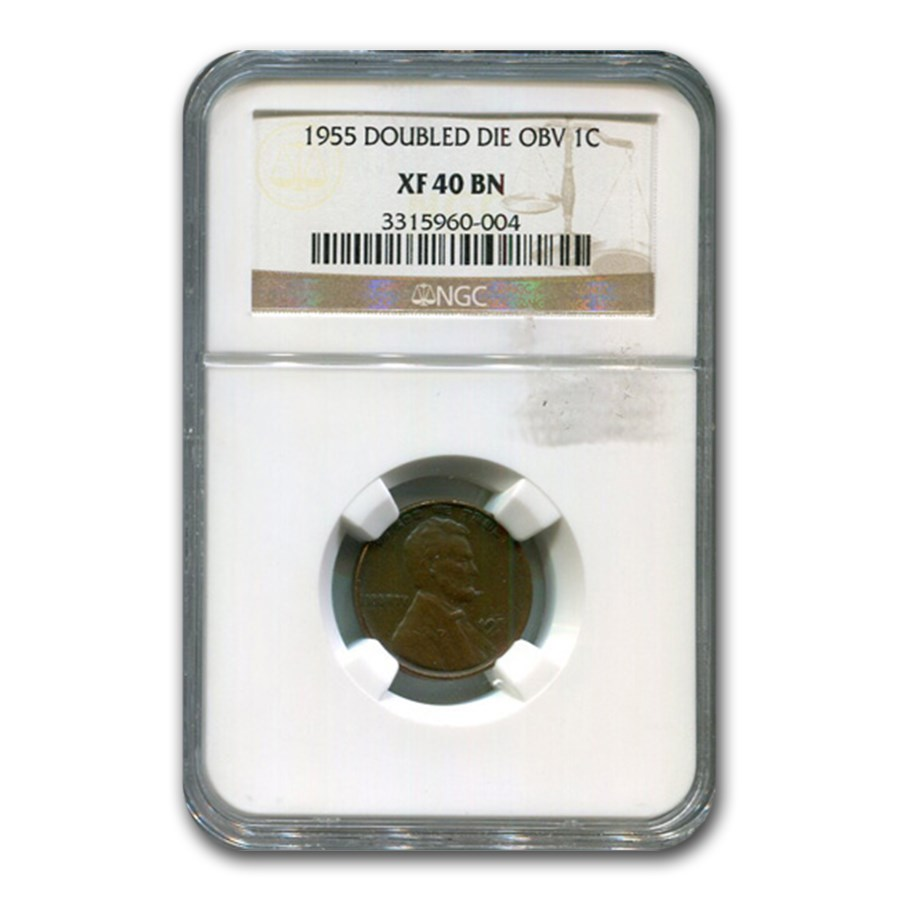 1955 Doubled Die Obverse Lincoln Cent XF-40 NGC (Brown)