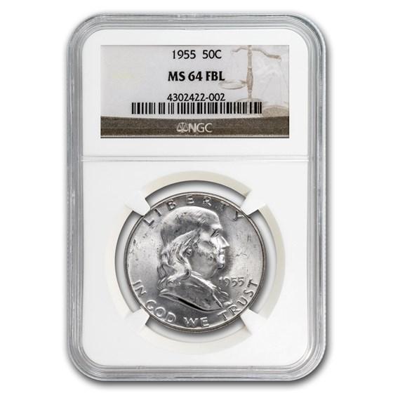 1955 Franklin Half Dollar MS-64 NGC (FBL)