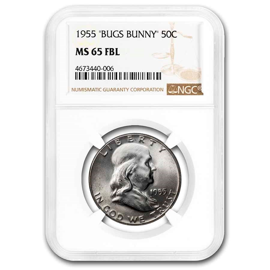 1955 Franklin Half Dollar MS-65 NGC (FBL, Bugs Bunny)