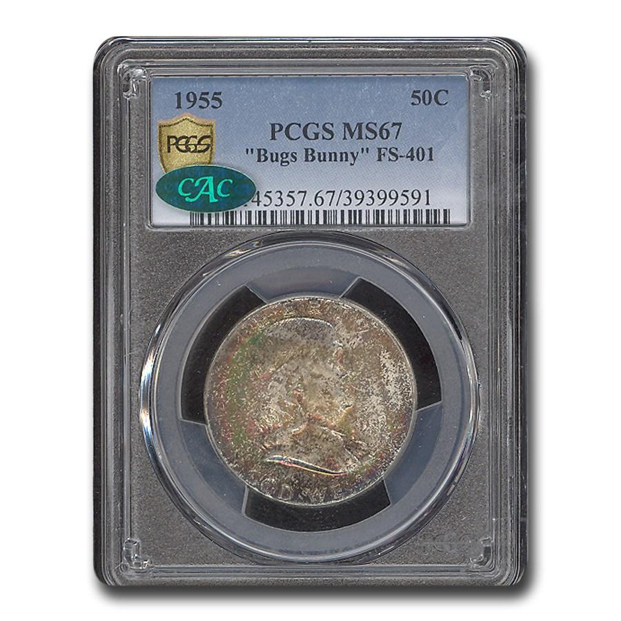 1955 Franklin Half Dollar MS-67 PCGS CAC (Bug Bunny, FS-401)