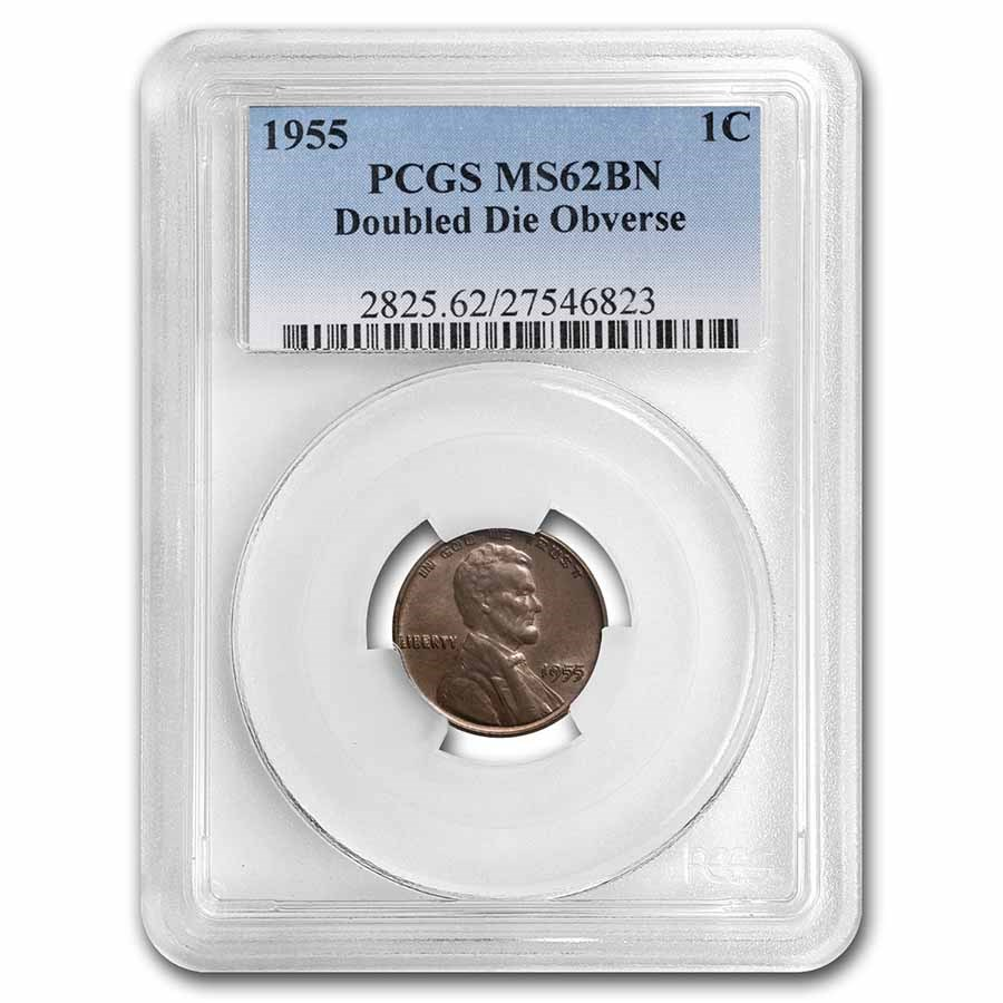 1955 Lincoln Cent Doubled Die MS-62 PCGS (Brown)