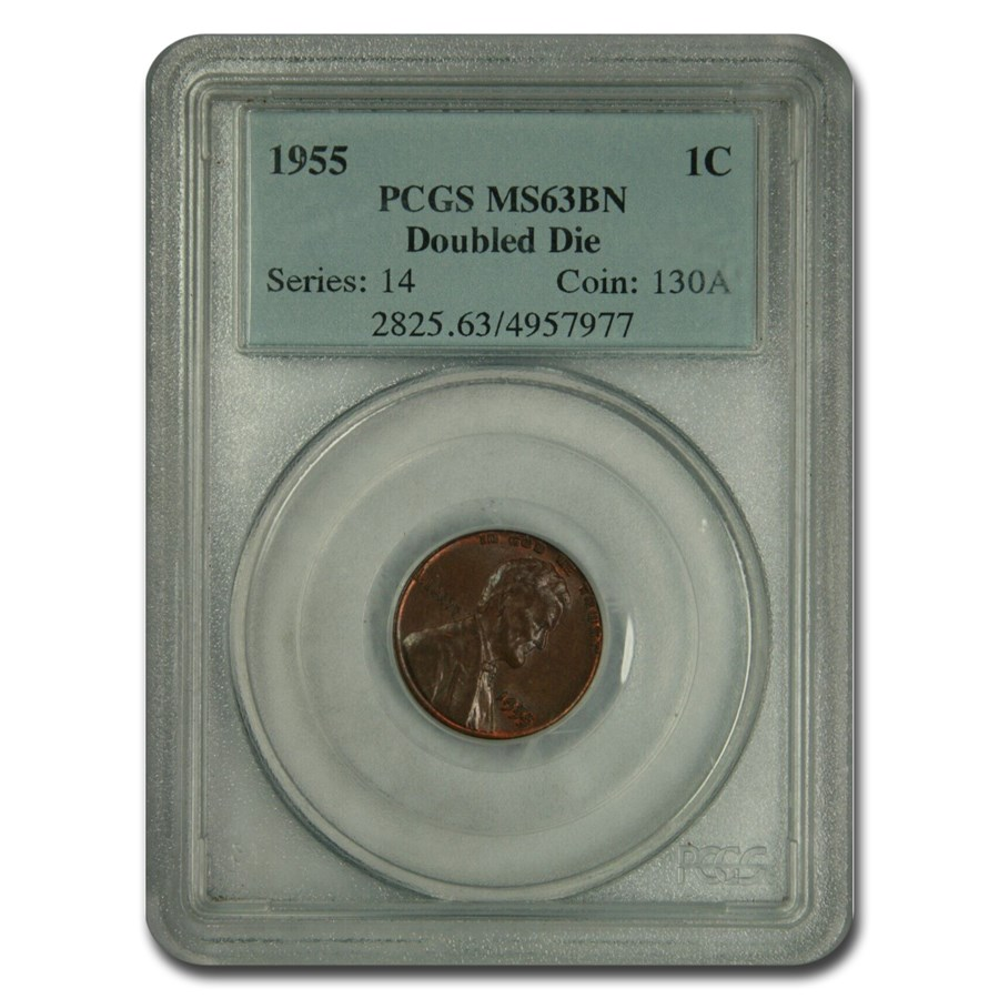 1955 Lincoln Cent Doubled Die Obverse MS-63 PCGS (Brown)