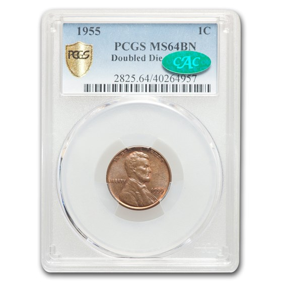 1955 Lincoln Cent Doubled Die Obverse MS-64 PCGS CAC (Brown)