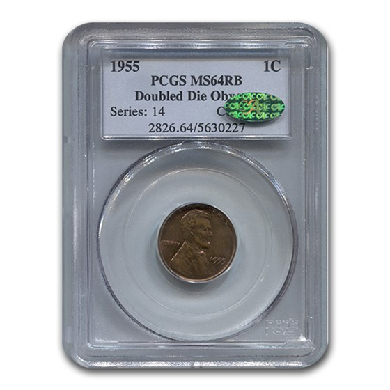 1955 Lincoln Cent MS-64 PCGS CAC (Red/Brown, Doubled Die Obverse)