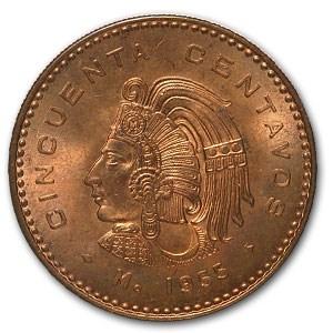1955 Mexico 50 Centavos Cuauhtemoc BU (Red)