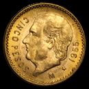 1955 Mexico Gold 5 Pesos BU