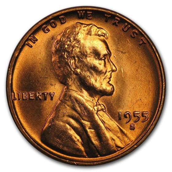 1955-S Lincoln Cent BU (Red)