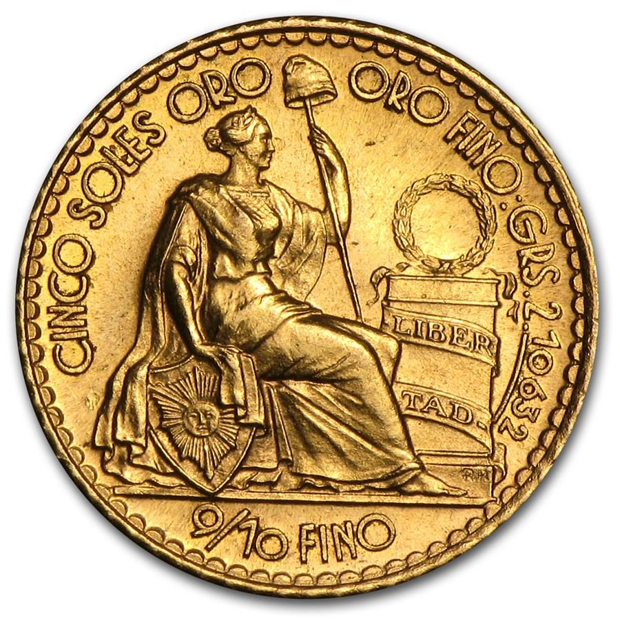 1956-1969 Peru Gold 5 Soles Oro Liberty AU/BU