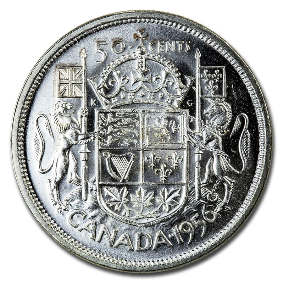 1956 Canada Silver 50 Cents Elizabeth II BU/Prooflike