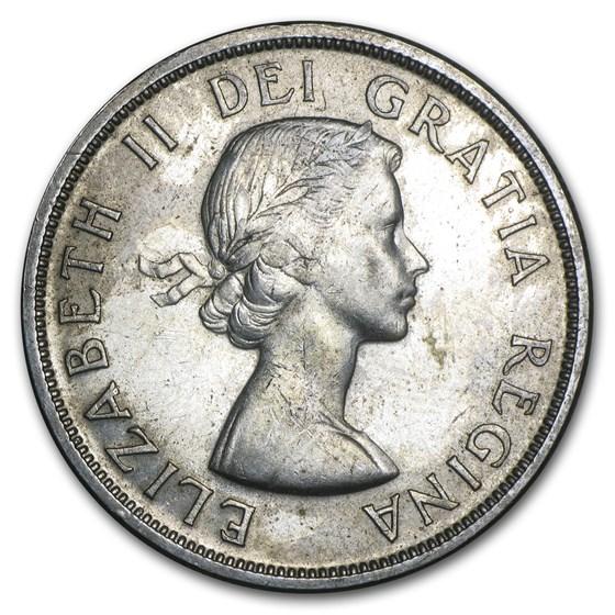 1956 Canada Silver Dollar Elizabeth II AU