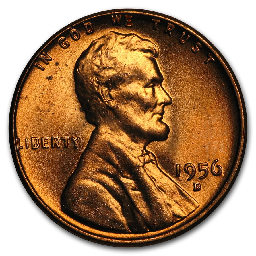 1956-D Lincoln Cent BU (Red)