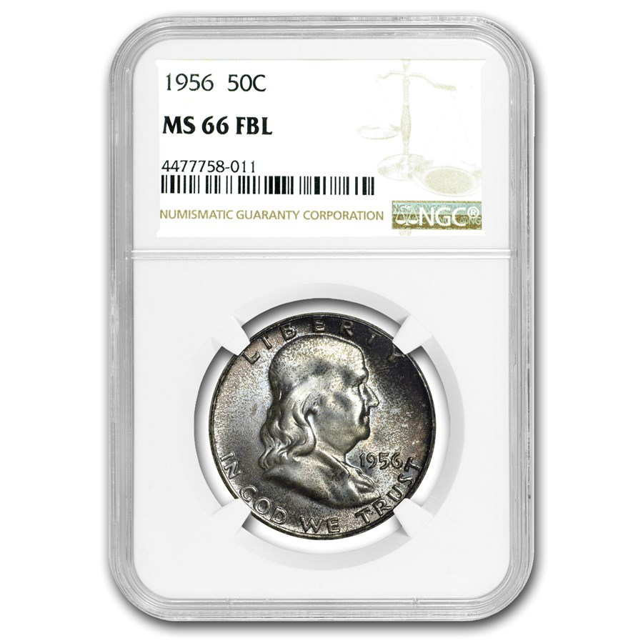 1956 Franklin Half Dollar MS-66 NGC (FBL)