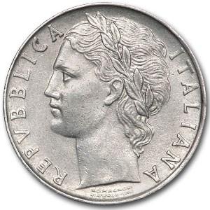 1956 Italy 100 Lire Minerva AU