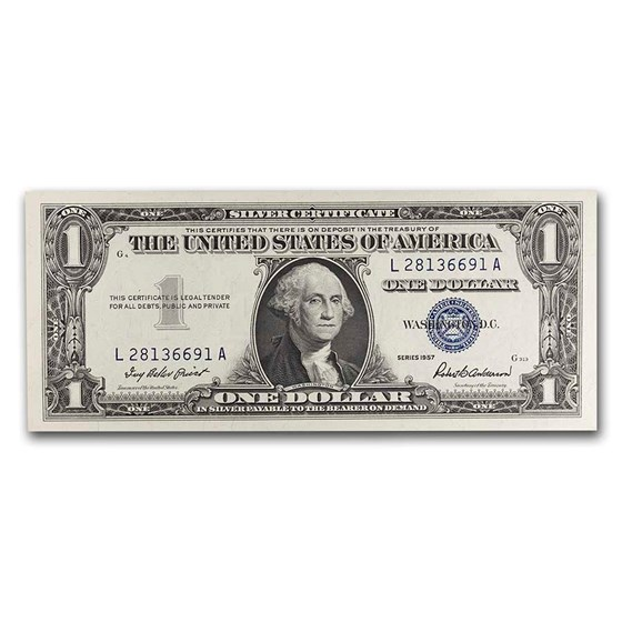 1957 $1.00 Silver Certificate AU (Fr#1619)