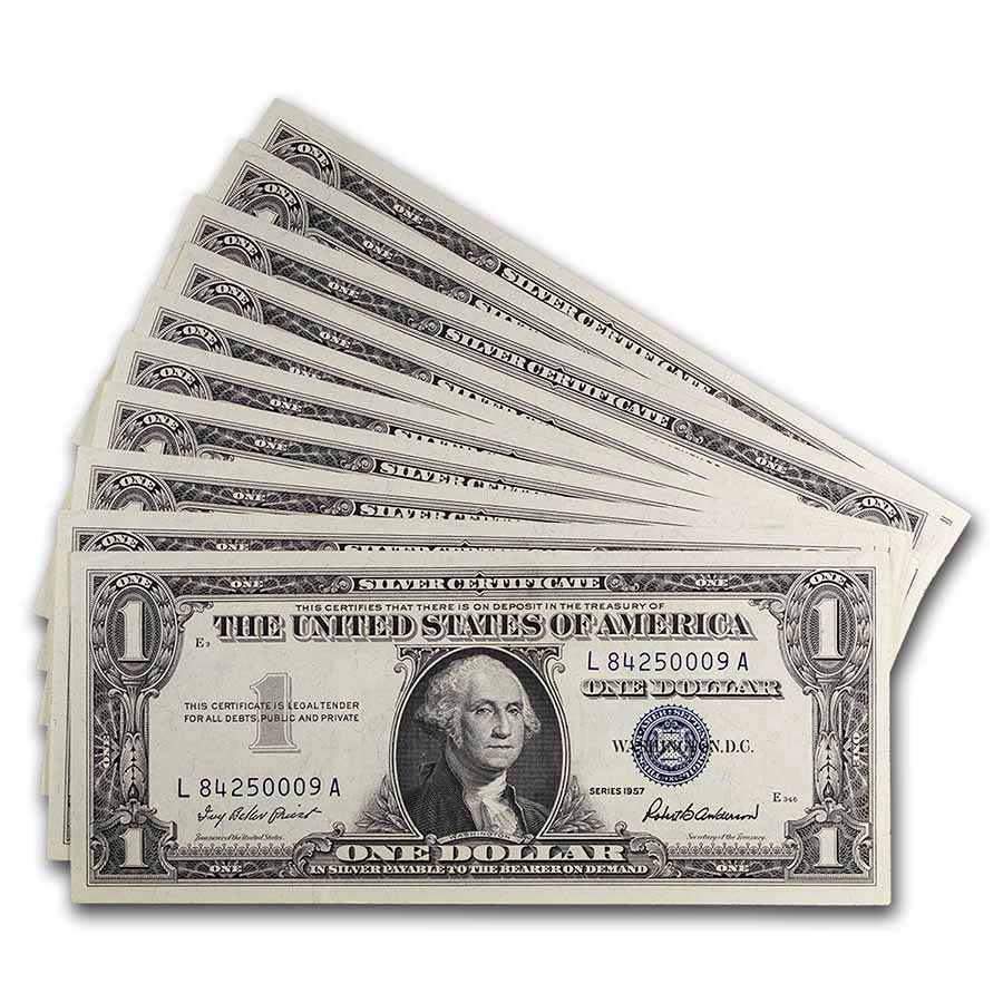 1957 $1.00 Silver Certificate CCU (Fr#1619) 10 Consecutive