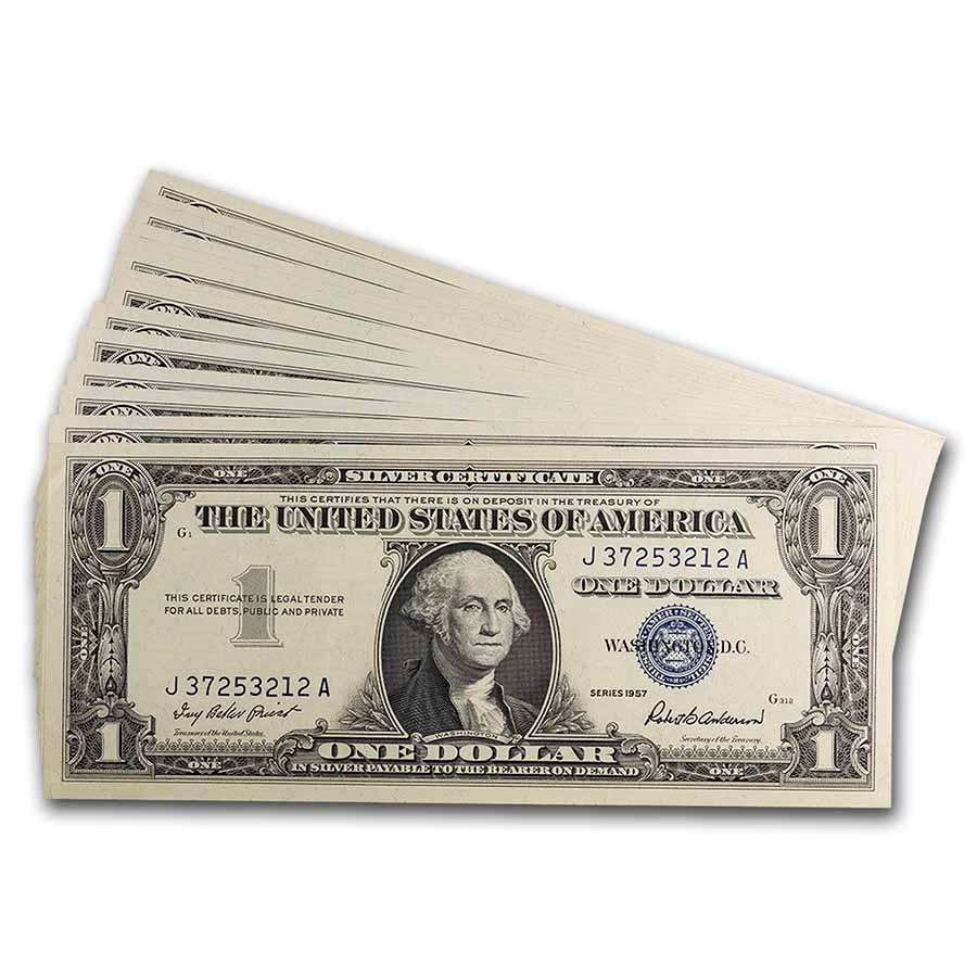1957 $1.00 Silver Certificate CCU (Fr#1619) 14 Consecutive
