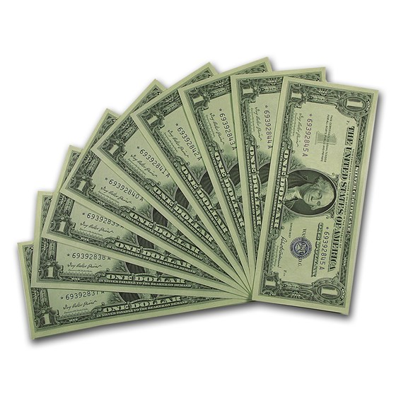 1957* $1 Silver Cert CCU (Fr#1619*) Star Notes, 10 Consecutive