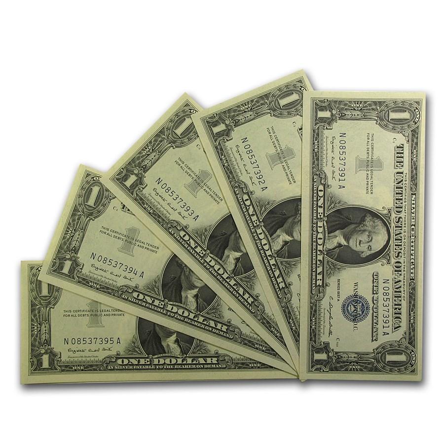 1957-A $1.00 Silver Certificate CU (Fr#1620) 5 Consecutive