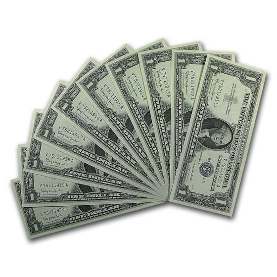 1957-B $1.00 Silver Certificate CCU (10 Consecutive Notes)