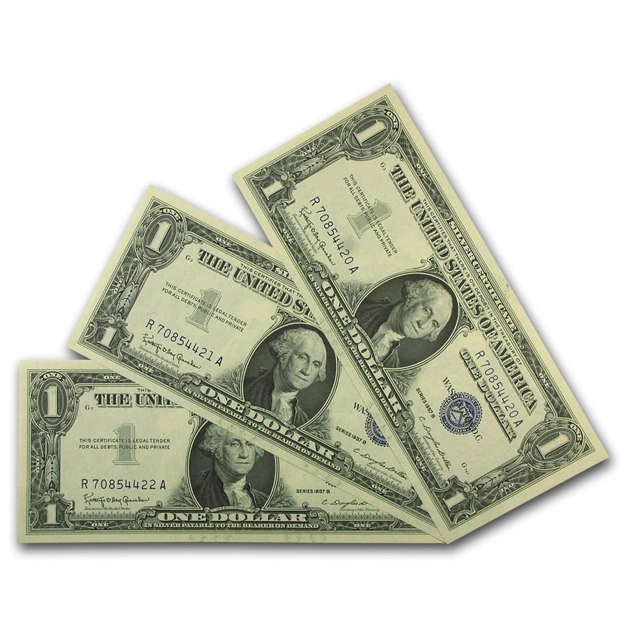 1957-B $1.00 Silver Certificate CCU (Fr#1621) 3 Consecutive