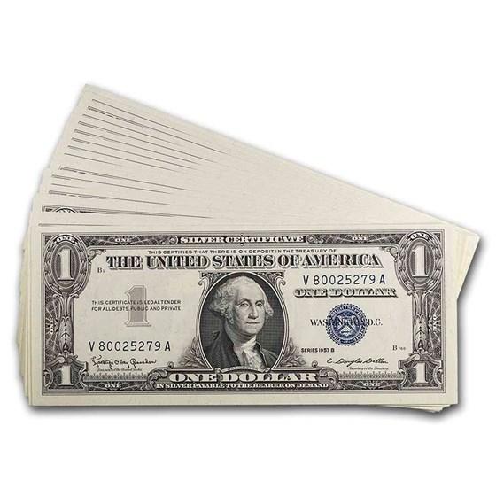1957-B $1.00 Silver Certificate CU (Fr#1621) 20 Consecutive