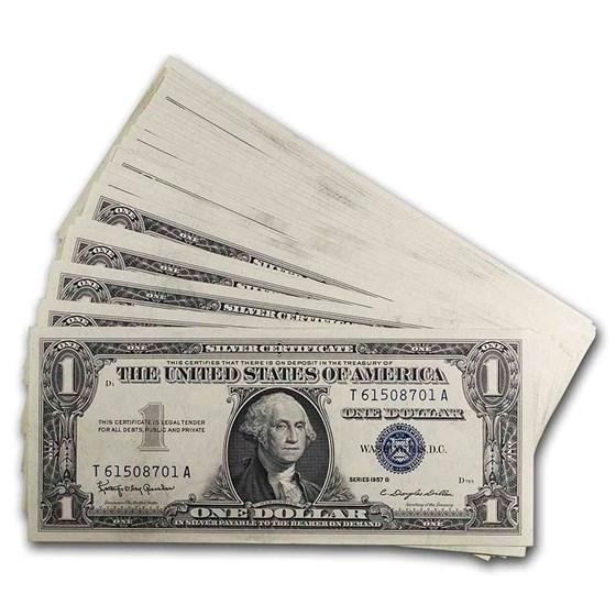 1957-B $1.00 Silver Certificate CU (Fr#1621) 25 Consecutive
