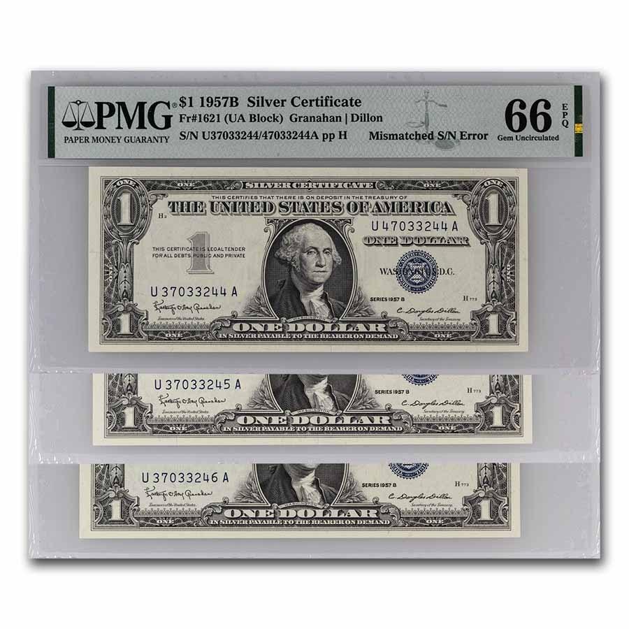 1957-B $1 Silver Cert CU-66 EPQ PMG (Fr#1621) Mismatch Error