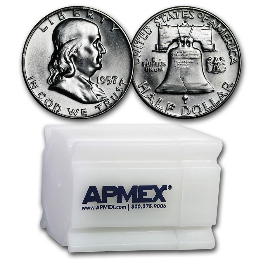 1957-D Franklin Half Dollar 20-Coin Roll BU