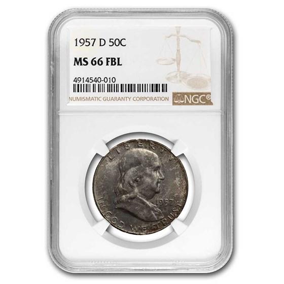1957-D Franklin Half Dollar MS-66 NGC (FBL) (Toned)