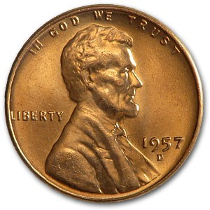 1957-D Lincoln Cent BU (Red)