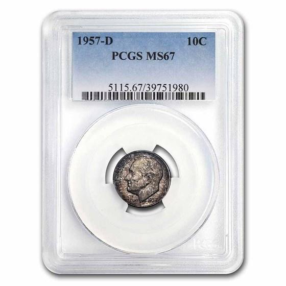1957-D Roosevelt Dime MS-67 PCGS (Mint Set Toning)