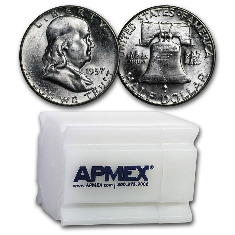 1957 Franklin Half Dollar 20-Coin Roll BU