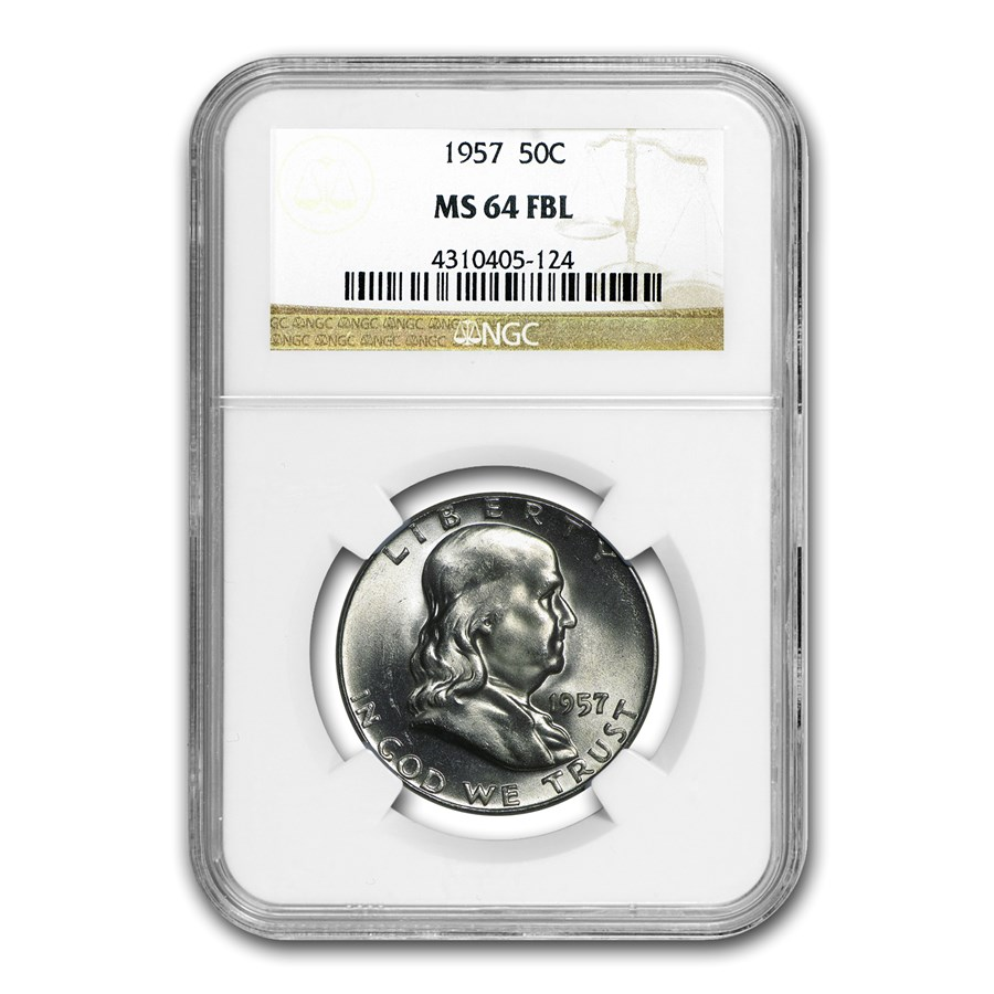 1957 Franklin Half Dollar MS-64 NGC (FBL)