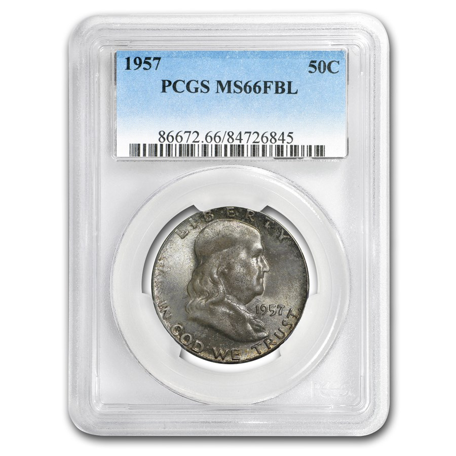 1957 Franklin Half Dollar MS-66 PCGS (FBL) (Toned)