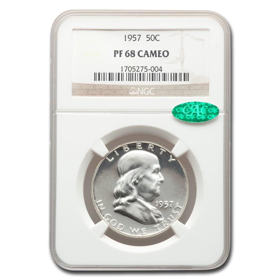 1957 Franklin Half Dollar PF-68 Cameo NGC CAC