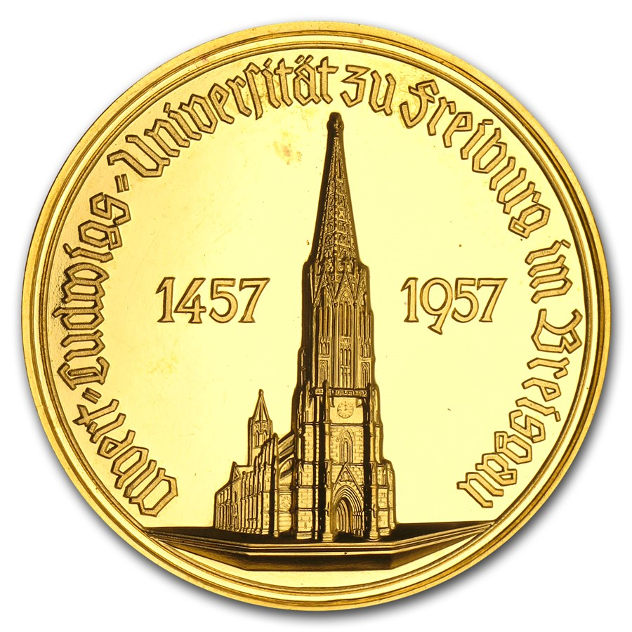 1957 Germany Gold University of Freiburg Medal