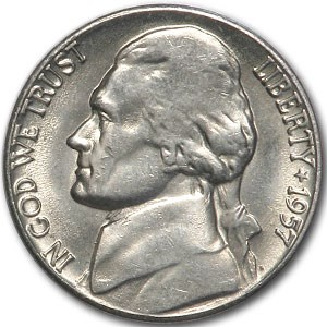 1957 Jefferson Nickel BU