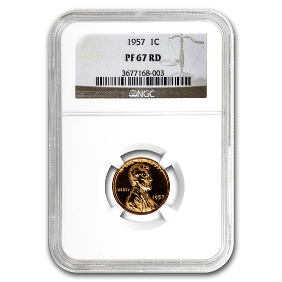 1957 Lincoln Cent PF-67 NGC (Red)