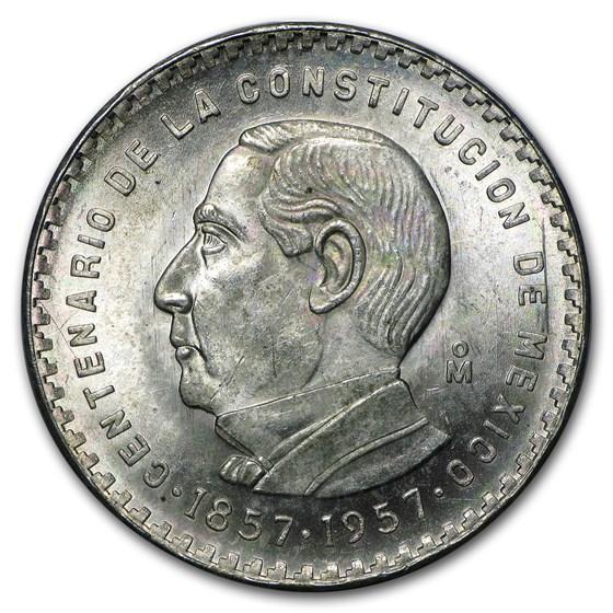 1957 Mexico Silver 5 Pesos Constitution XF-AU (ASW .4179 oz)