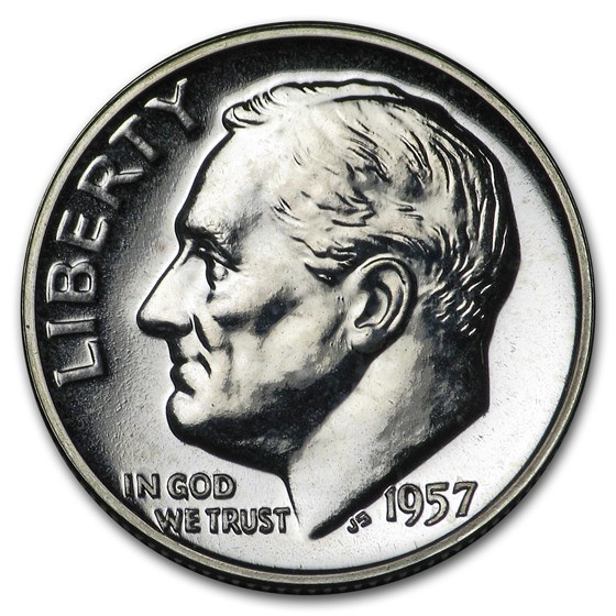 1957 Roosevelt Dime Gem Proof