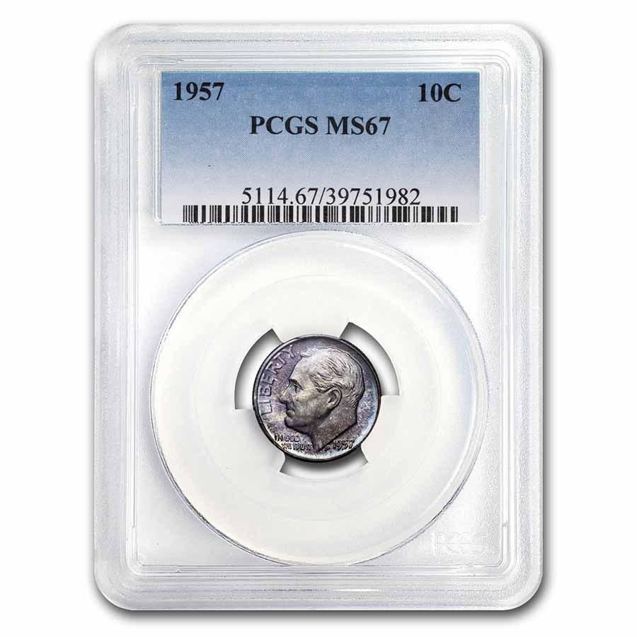 1957 Roosevelt Dime MS-67 PCGS (Mint Set Toning)