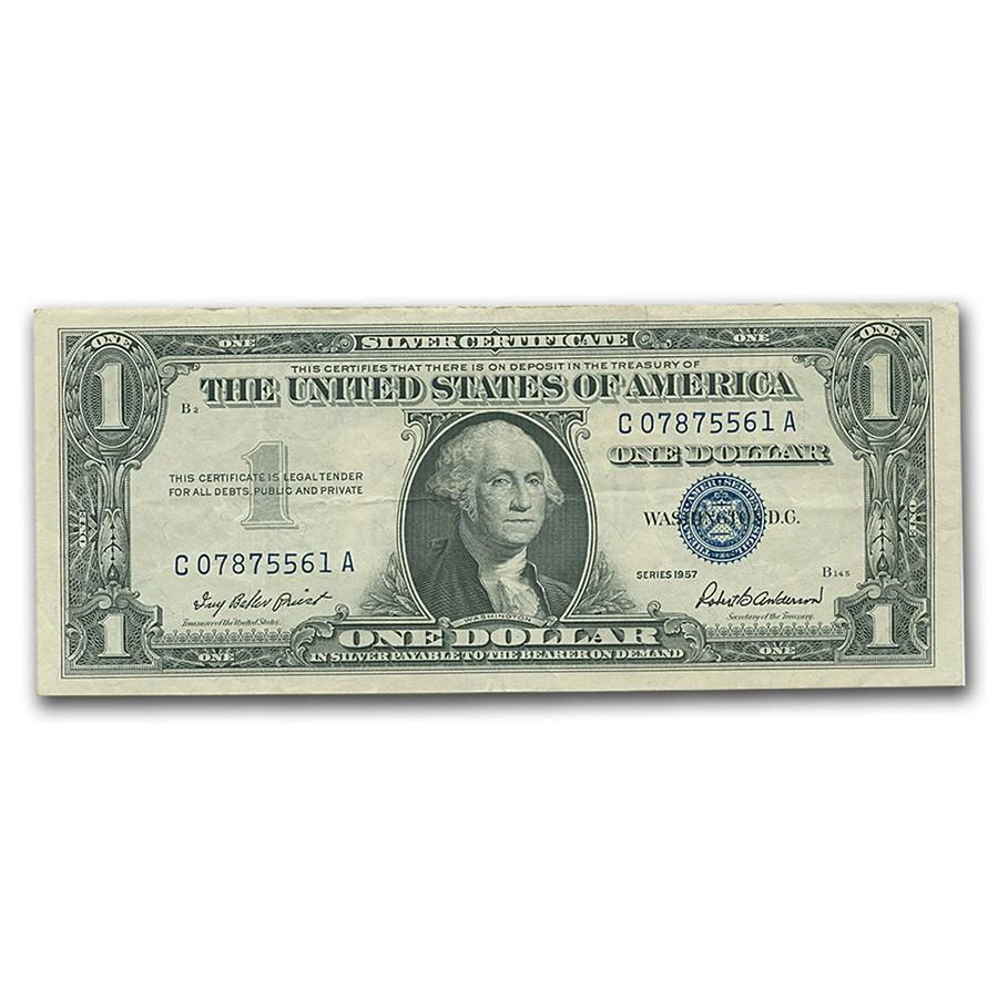 1957s $1.00 Silver Certificate AU