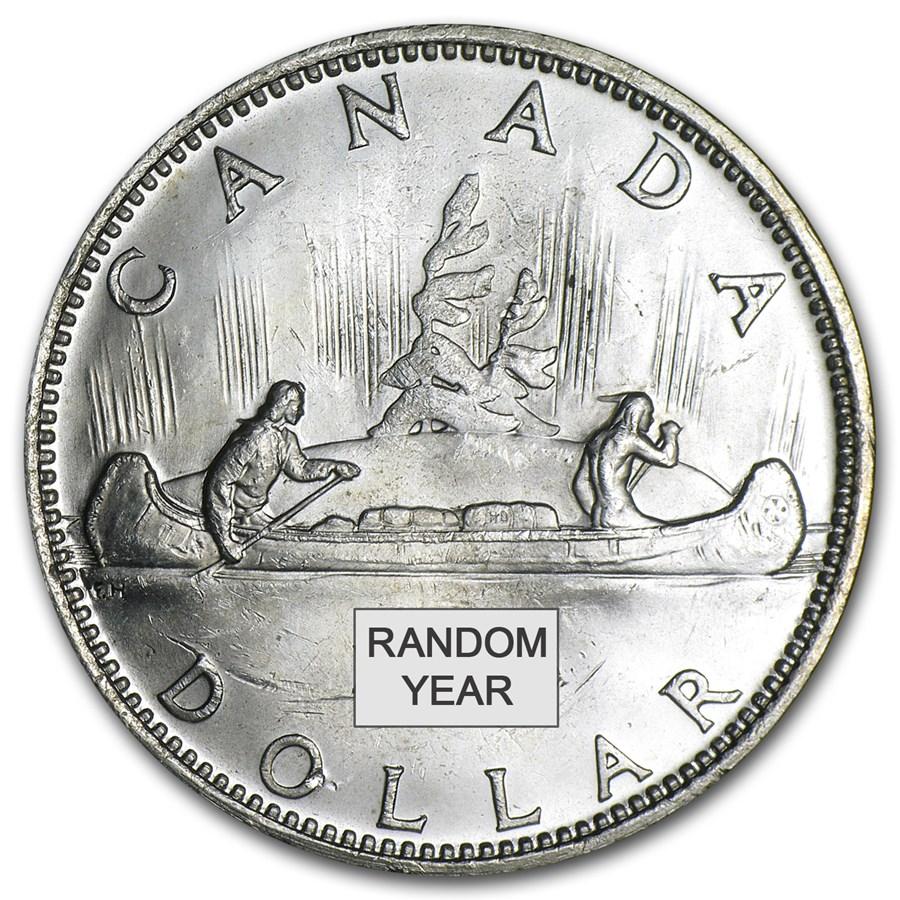 1958-1967 Canada Silver Dollar AU (.800 Fine)
