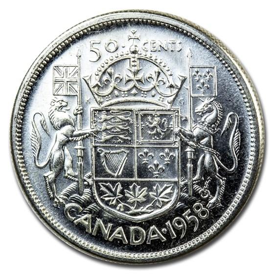 1958 Canada Silver 50 Cents Elizabeth II BU/Prooflike