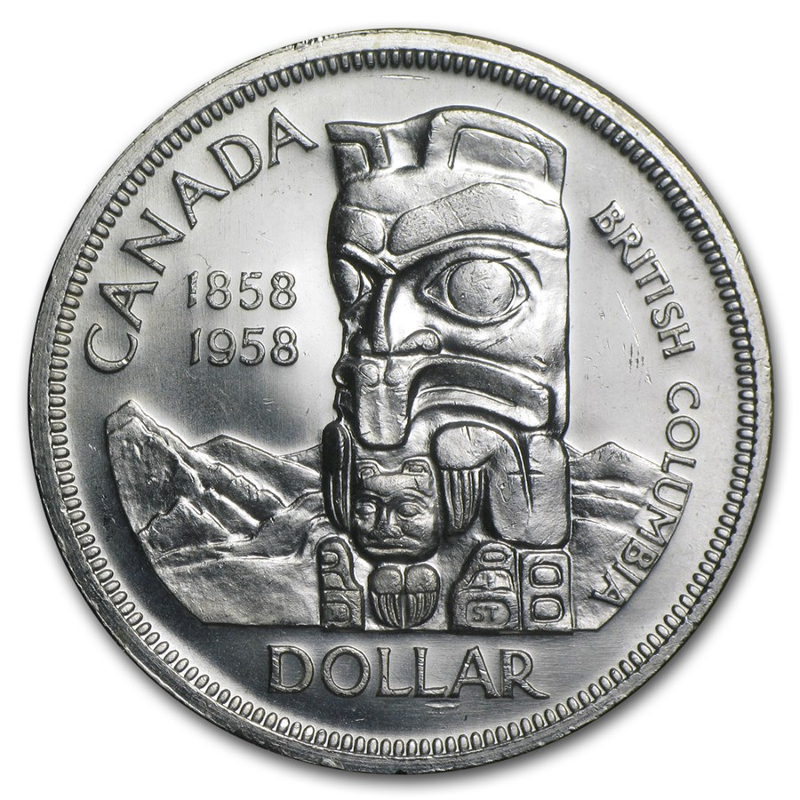 1958 Canada Silver Dollar British Columbia Totem Pole AU