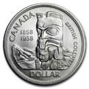 1958 Canada Silver Dollar British Columbia Totem Pole BU