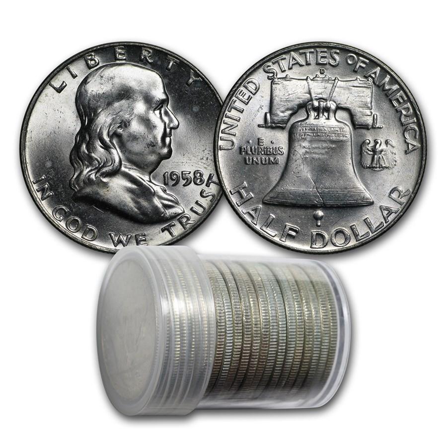 1958-D Franklin Half Dollar 20-Coin Roll BU