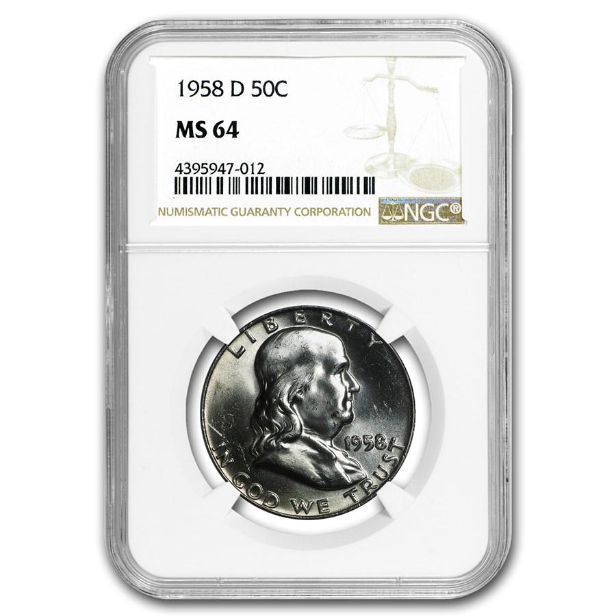 1958-D Franklin Half Dollar MS-64 NGC