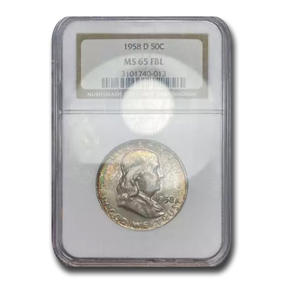 1958-D Franklin Half Dollar MS-65 NGC (FBL)