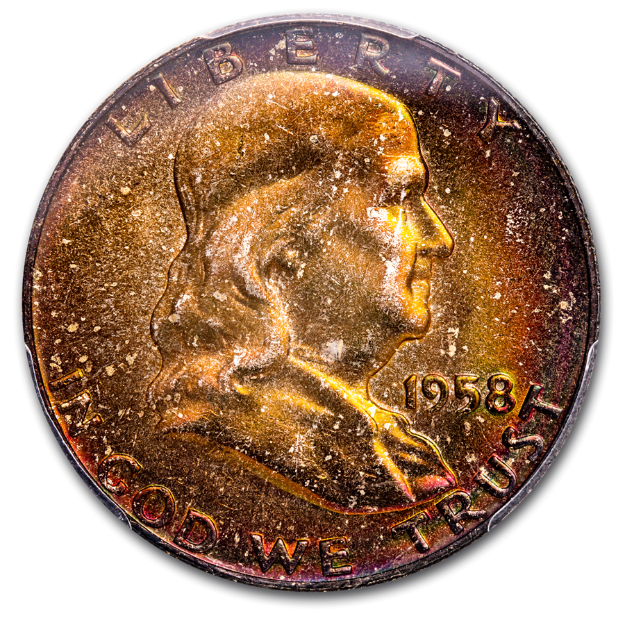 1958-D Franklin Half Dollar MS-66+ PCGS (Beautifully Toned)